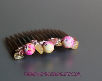 Pink Summer porcelain and stone wire wrapped hair comb / etsy / handmade / yellow / accessories / gifts for women / wearable art / gemstone