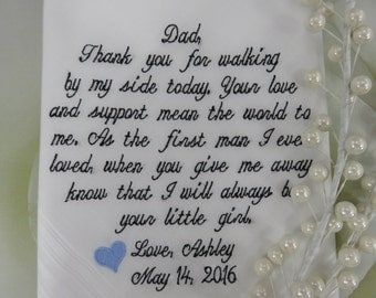 Embroidered & Free Gift Envelope - Wedding Handkerchief - 40 Words Of Your Choice - Truly Custom Wedding Hankie Bridal Gift For Father Hanky