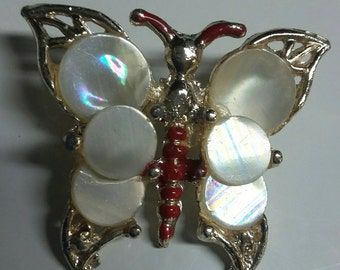 Butterfly Broach with Mother-of-pearl Accent Pieces