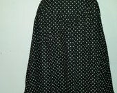 Hippie Calico Skirt Prairie Style 70's Black and White Floral Cotton Ruffle Hem Summer Skirt Size S Made by You Babe