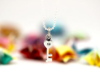 Little Heart Key charm, sterling silver, kid jewelry (Chain Sold Separately)