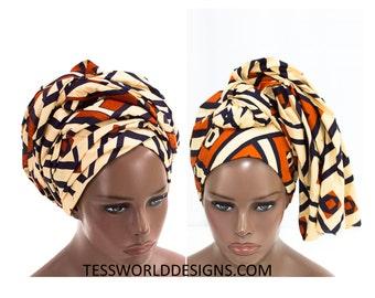 Kuba Head wrap, Orange / Head wrap Scarf / Headwrap / Head wrap Women / Head Wrap for Women /African accessory / African Head wraps/  HT143