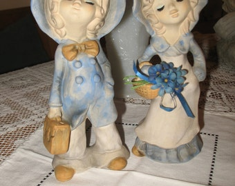 2 figurines Genin Trudeau, character, boy and girl, ceramic.