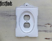 Outlet Plate Oval Ornate Framed Shabby Chic White Electrical Cottage Painted Cover Vintage Plastic Wall Plug Cover Decor DETAILS BELOW