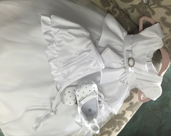 Baby Girl Christening Dress Baby Baptism Dress White baby dress white baptism dress toddler Satin and Tulle baptism dress christening gown