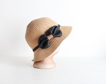 Vintage Women's Woven Cloche Hat with Black Bow