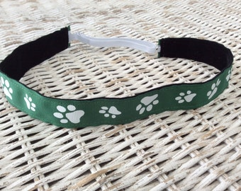 Hunter Green Paw Print Headband - Womens Sports Headband