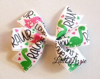 Dinosaur pinwheel bow hair clip girls toddler