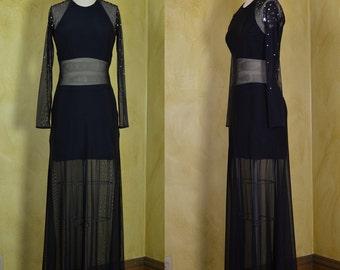 1980s Tadashi Very Vampy Black Fishnet & Studded Gown
