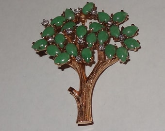 14k Yellow Gold Jade and Diamond Tree of Life Brooch