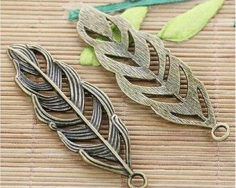6pcs antiqued bronze leaf pendant charm G580