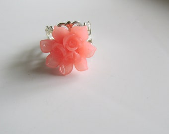 Peach Adjustable Ring, Floral Ring