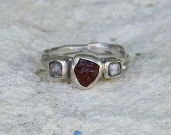 Womans Engagement Ring Garnet Diamond Organic Oak Twig Silver  Jewelry Handmade  Ring