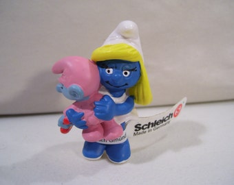 Vintage Schleich The Smurfs Smurfette with Baby Smurf Pvc Figure, 1983, Peyo, Germany, New with Tag