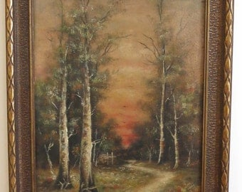 Vintage Oil On Board Woodcutting in the Birch Forest Framed Painting Unsigned Interior Decorator Decorating