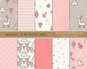 Doodle Digital Paper Pink 'Cute Christmas' Commercial Use Printable Scrapbook Papers Seamless Patterns for Invitations, Scrapbook, Crafts...