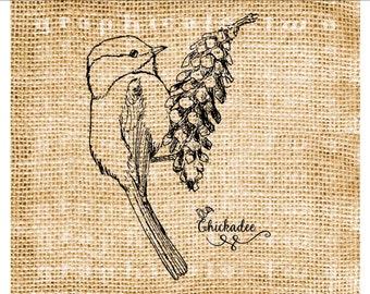 Bird instant clip art Chickadee Graphic digital download image for iron on fabric transfer Burlap Decoupage Pillow Garden decor No. gt383