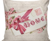 Valentine Pillow, Love Pillow, Romance, French Style Throw Pillow Cushion Cotton with Cotton or Burlap Back #EHD0072 Elliott Heath Designs