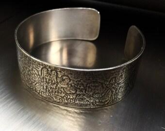 Textured Sterling Silver Cuff Bracelet, Handmade Designer cuff, Oxidised