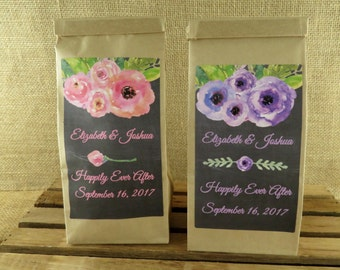 Personalized Self Closing Kraft Favor Bags - Watercolor Floral Design in Pink or Purple - Baking - Kraft Bags - 24 - ANY OCCASION - ppwk2