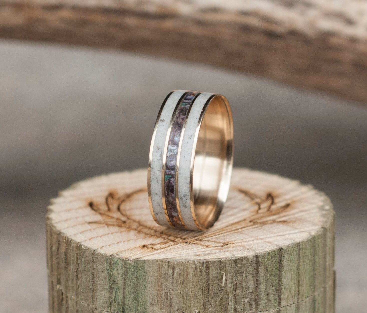 Mens Wedding Band 10K Gold Camo Ring W Elk Antler Staghead