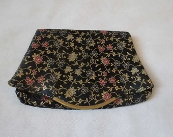 Black and Gold Floral Clutch - 1950s