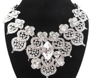 SALE 30% OFF Rhinestone Crystal Necklace, Bridal Statement Necklace, Vintage Inspired Wedding Necklace