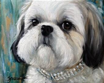 PRINT Shih tzu shitzu puppy dog face princess portrait art by Mary Sparrow of Hanging the Moon Art Studio
