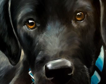 "PRINT Black Labrador Retriever Lab Dog Puppy Art Print / Mary Sparrow of hanging the Moon ""BLUE"""