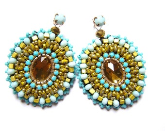 Bead embroidered earrings - Mojmira