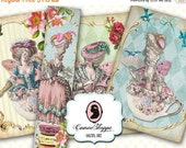 75% OFF SALE MARIE Antoinette Tea Cup Digital Collage Sheet Bookmark Shabby Chic Digital download