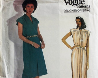 Dress with cap sleeves by Bellville Sassoon - 1980's- Vogue 1153  Uncut  Size 12  Bust  34""
