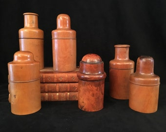 A set of antique wooden aphotecary/ stock jars, late 19's century