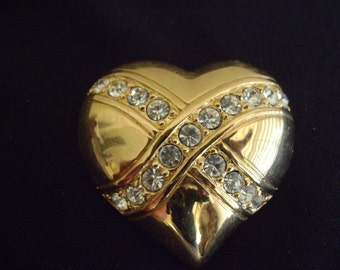 Gold Tone Heart with Rhinestones Brooch