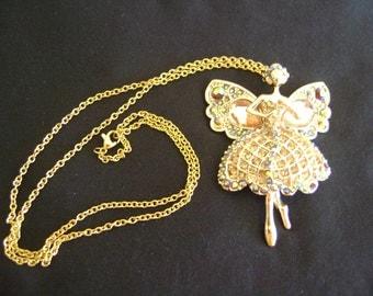 Vintage Fairy Goldtone and Rhinestones Necklace
