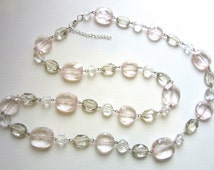 Extra Long Necklace Pink Champagne & Clear Faceted Translucent Lucite Metal Strung Gatsby Flapper 36 - 38 Inches