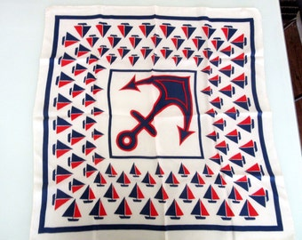 Poly Twill Scarf Nautical Theme Sail Boats Anchor 26 Inches Square Vintage Retro 1960s