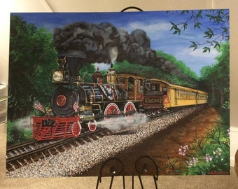 No. 17 Steam Train Northern Central Railroad Steam Engine Original Painting on Canvas