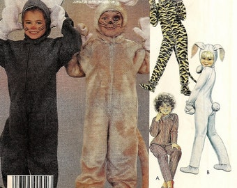 "A Set of Childrens' Animal Costumes Sewing Pattern: Front Zip Mouse, Rabbit, Tiger - Uncut - Size 2, Chest/Breast 21"" • McCall's 2624"