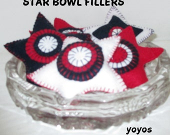 STARS, FILLERS, TUCKS, Red White Blue, Felt Bowl Fillers, Home Decor, Table Décor, Memorial Day,  July 4th,  Americana,  Patriotic, Set of 4