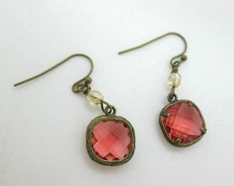 Vintage Look Glass Earrings, Peach Rose Victorian Glass Earrings, Bronze Earrings, Dangle Earrings