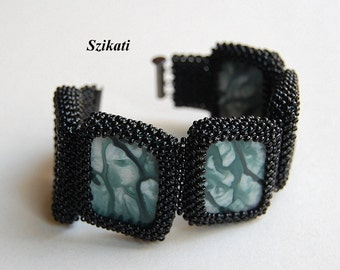 FREE SHIPPING Black/Mint Green Beadwoven Cuff Bracelet, Statement Beaded High Fashion Jewelry, Women's Beadwork Accessory, Gift for Her OOAK