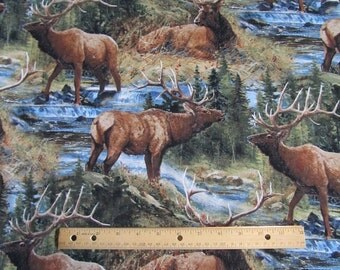 Multicolored Elk Wilderness/Mountain Cotton Fabric by the Yard