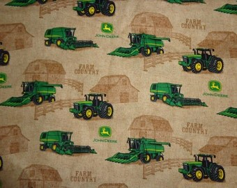 Brown John Deere Farm Country Tractor/Combine Cotton Fabric by the Yard