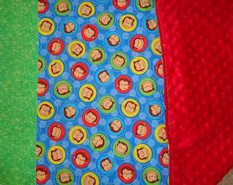 Blue CG Monkey Faces Cotton/Minky Baby/Toddler Blanket