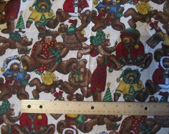 40 Inches Christmas Bears Cotton Fabric