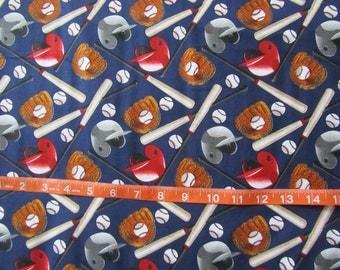 Navy Blue Baseball Helmets/Balls/Bats Toss Cotton Fabric by the Yard