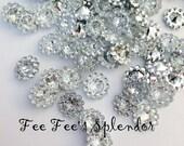 Acrylic Rhinestone gem embellishment-Flower center- Diamond clear 11 mm- **100 pcs**