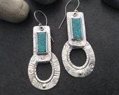 Turquoise earrings, bright blue stones, 2 piece oval hanging hoops, one of a kind textured stamped sterling silver, big large boho rustic