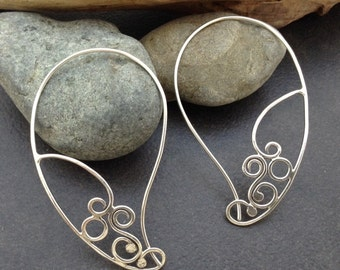 Sterling silver earrings, long ear wire loop hoop, delicate curling lace wire metalwork, light weight,  original unique design